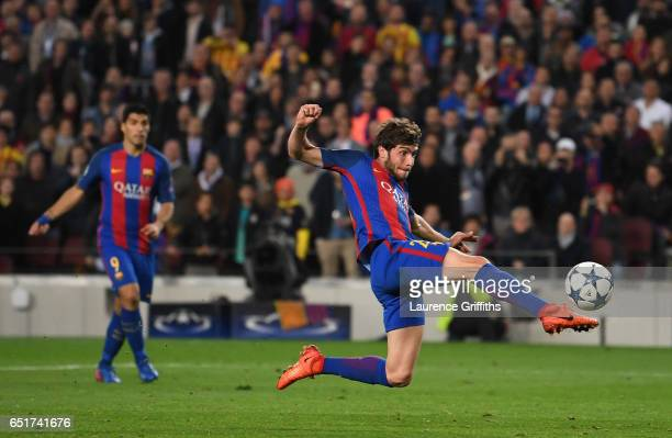 Sergio Roberto of Barcelona scores their sixth goal during the UEFA Champions League Round of 16 second leg match between FC Barcelona and Paris...