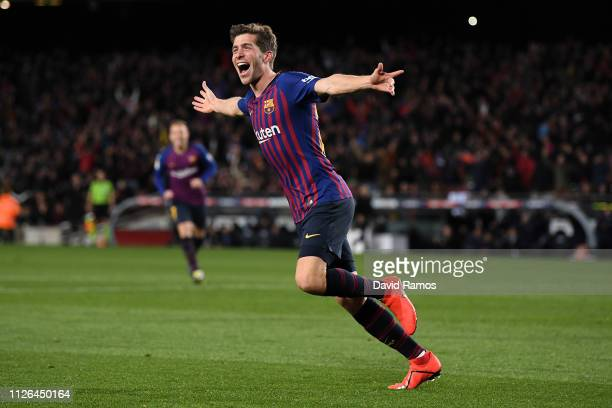 Sergio Roberto of FC Barcelona celebrates after scoring his team's fourth goal during the Copa del Quarter Final match between FC Barcelona and...