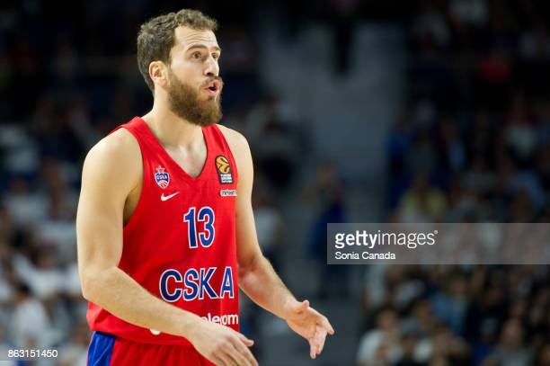 Sergio Rodriguez #13 guard of CSKA Moscow during the 2017/2018 Turkish Airlines Euroleague Regular Season Round 2 game between Real Madrid and CSKA...
