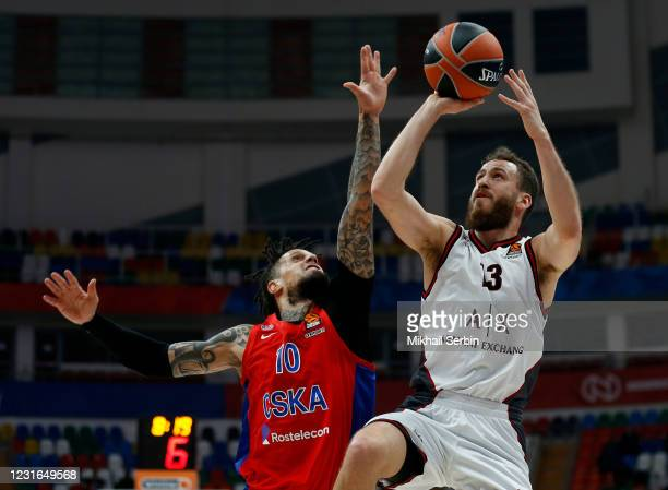 Sergio Rodriguez, #13 of AX Armani Exchange Milan competes with Daniel Hackett, #10 of CSKA Moscow in action during the 2020/2021 Turkish Airlines...