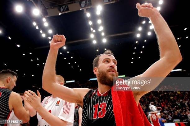 Sergio Rodriguez #13 of AX Armani Exchange Milan in action during the 2019/2020 Turkish Airlines EuroLeague Regular Season Round 4 match between AX...