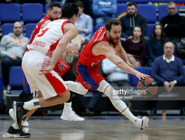 Sergio Rodriguez #13 of CSKA Moscow competes with Luca Vildoza #3 of Baskonia Vitoria Gasteiz in action during the 2017/2018 Turkish Airlines...