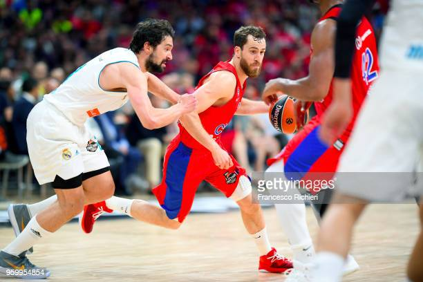 Sergio Rodriguez #13 of CSKA Moscow competes with Sergio Llull #23 of Real Madrid during the 2018 Turkish Airlines EuroLeague F4 Semifnal B game...