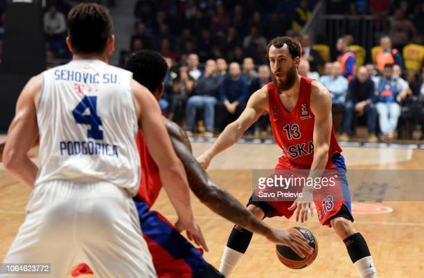 Sergio Rodriguez #13 of CSKA Moscow in action during the 2018/2019 Turkish Airlines EuroLeague Regular Season Round 9 game between Buducnost Voli...