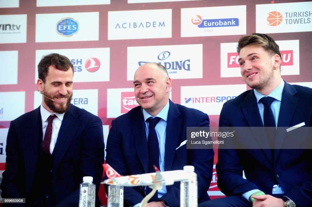 Sergio Rodriguez, #13 of CSKA Moscow; Pablo Laso, Head Coach of Real Madrid and Luka Doncic, #7 of Real Madrid during the 2018 Turkish Airlines EuroLeague F4 Final Four Opening Press Conference at Kalemegdan Fortress and Park on May 17, 2018 in Belgrade, Serbia.