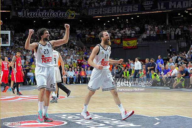 Sergio Rodriguez, #13 of Real Madrid and Sergio Llull, #23 of Real Madrid during the Turkish Airlines Euroleague Final Four Madrid 2015 Final Game...