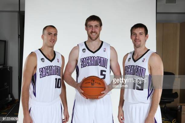 Sergio Rodriguez Andres Nocioni and Beno Udrih pose for a portrait during 2009 NBA Media Day on September 28 2009 at the Practice Facility in...