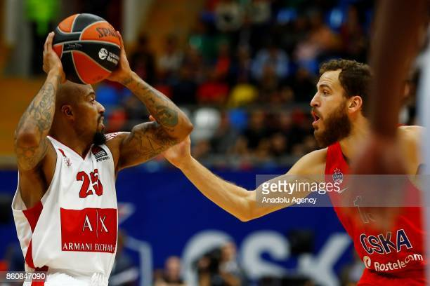 Sergio Rodriguez of CSKA Moscow vies with Jordan Theodore of AX Olimpia Milan during the Turkish Airlines Euroleague match between CSKA Moscow and AX...