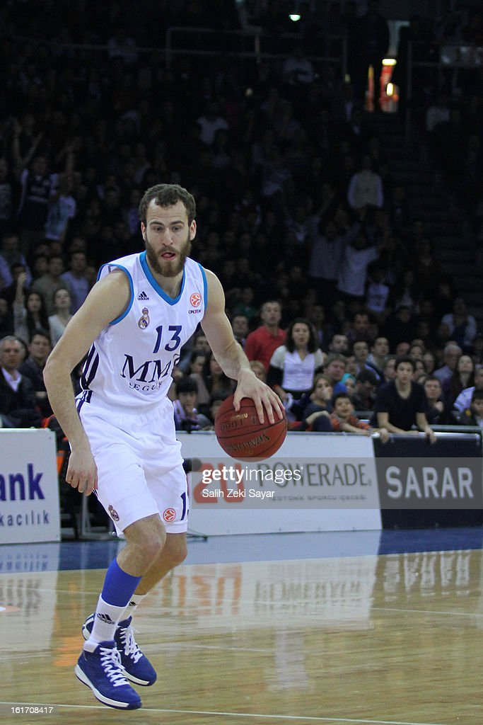Sergio Rodriguez #13 of Real Madrid in action during the 2012-2013 Turkish Airlines Euroleague Top 16 Date 7 between Anadolu EFES Istanbul v Real Madrid at Abdi Ipekci Sports Arena on February 14, 2013 in Istanbul, Turkey.