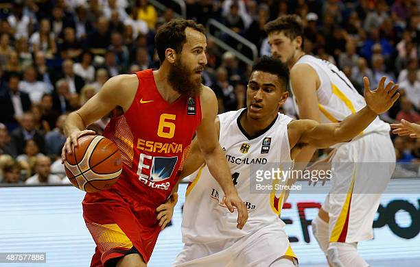 Sergio Rodriguez of Spain drives to the basket against Maodo Lo of Germany during the FIBA EuroBasket 2015 Group B basketball match between Germany...