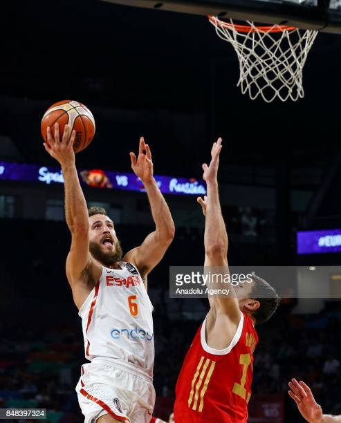 Sergio Rodriguez of Spain in action against Semen Antonov of Russia during the FIBA Eurobasket 2017 consolation basketball match between Russia and...