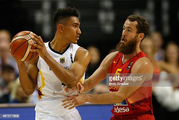 Sergio Rodriguez of Spain tries to block Maodo Lo of Germany during the FIBA EuroBasket 2015 Group B basketball match between Germany and Spain at...