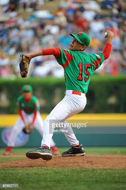 Sergio Rodriguez of the Matamoros Little League team pitches during the World Series Championship game against the Waipio Little League team at...