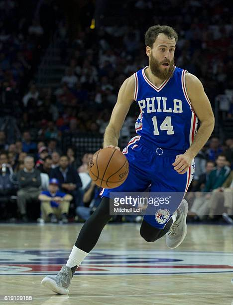 Sergio Rodriguez of the Philadelphia 76ers dribbles the ball against the Oklahoma City Thunder at Wells Fargo Center on October 26 2016 in...