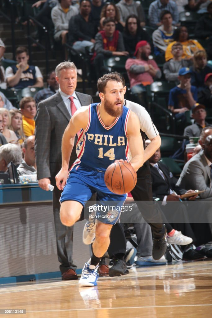 Sergio Rodriguez #14 of the Philadelphia 76ers handles the ball against the Indiana Pacers on March 26, 2017 at Bankers Life Fieldhouse in Indianapolis, Indiana.