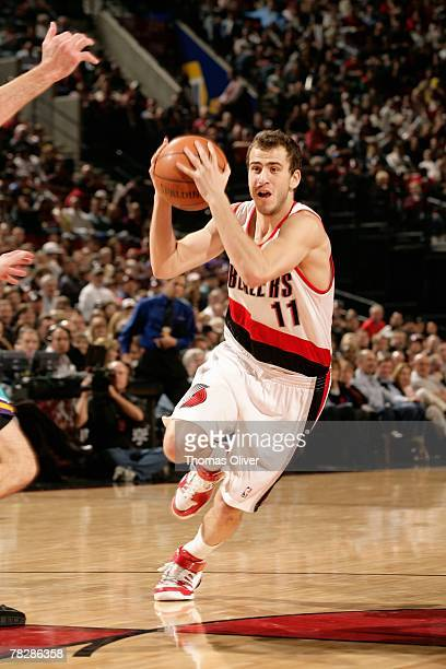 Sergio Rodriguez of the Portland Trail Blazers drives to the basket during the game against the New Orleans Hornets on November 7 2007 at the Rose...