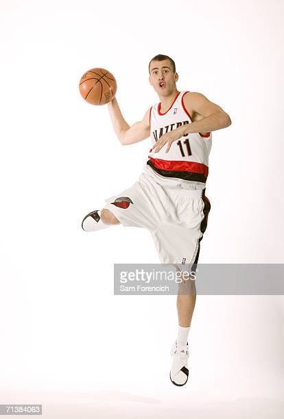 Sergio Rodriguez the Portland Trail Blazers' new draft pick poses during a portrait session July 6 2006 in Portland Oregon Rodriguez who played the...