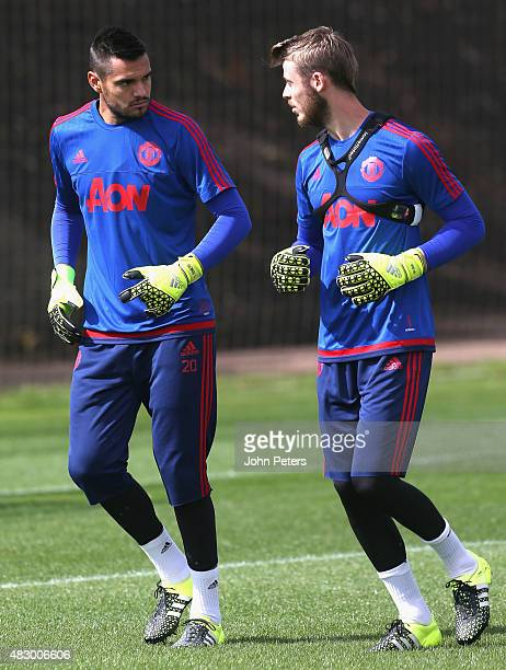 Sergio Romero and David de Gea of Manchester United in action during a first team training session at Aon Training Complex on August 5 2015 in...