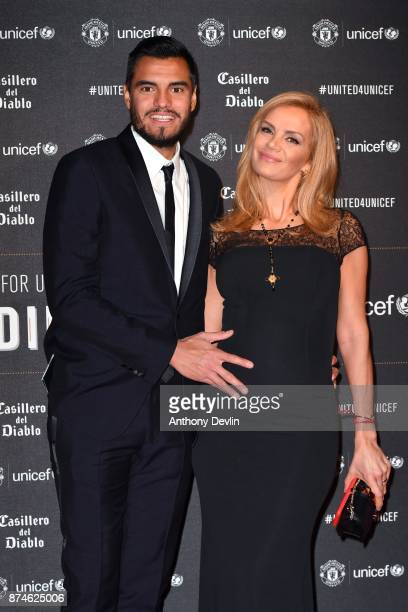 Sergio Romero and Eliana Guercio attend the United for Unicef Gala Dinner at Old Trafford on November 15 2017 in Manchester England
