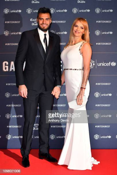 Sergio Romero and wife Eliana Guercio attend the United for Unicef Gala Dinner at Old Trafford on January 22 2019 in Manchester England