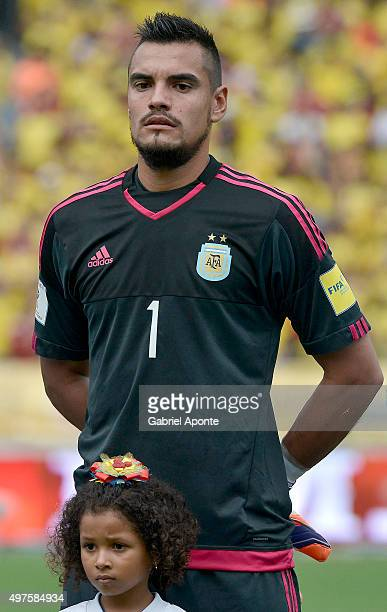 Sergio Romero goalkeeper of Argentina during the formal events prior during a match between Colombia and Argentina as part of FIFA 2018 World Cup...