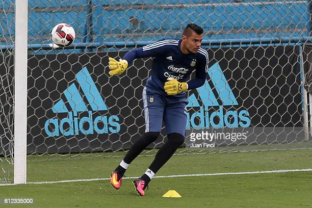 Sergio Romero goalkeeper of Argentina exercises during a training session at Alberto Gallardo Stadium on October 03 2016 in Lima Peru