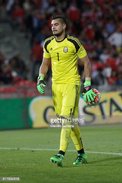 Sergio Romero goalkeeper of Argentina holds the ball during a match between Chile and Argentina as part of FIFA 2018 World Cup Qualifiers at Nacional...