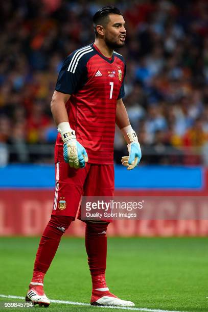 Sergio Romero goalkeeper of Argentina looks on during the international friendly match between Spain and Argentina at Wanda Metropolitano stadium on...