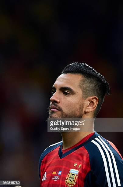 Sergio Romero goalkeeper of Argentina looks on prior to the international friendly match between Spain and Argentina at Wanda Metropolitano stadium...