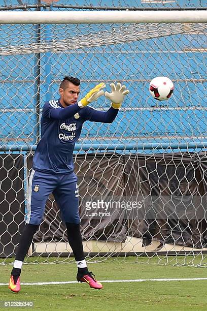 Sergio Romero goalkeeper of Argentina makes a save during a training session at Alberto Gallardo Stadium on October 03 2016 in Lima Peru