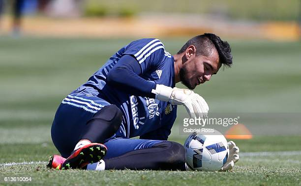 Sergio Romero goalkeeper of Argentina makes a save during a training session at Argentine Football Association 'Julio Humberto Grondona' training...