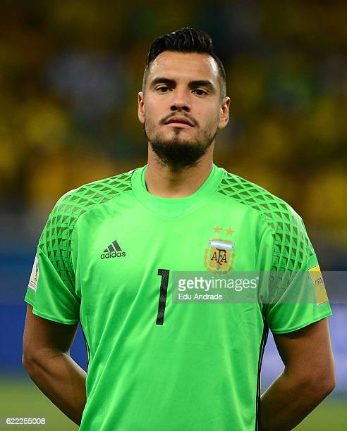 Sergio Romero goalkeeper of Argentina poses prior a match between Argentina and Brazil as part of FIFA 2018 World Cup Qualifiers at Mineirao Stadium...