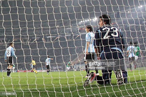 Sergio Romero goalkeeper of Argentina reacts after the goal of Bolivia against Bolivia as part a match of Group A of Copa America 2011 at Cuidad de...