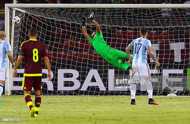 Sergio Romero goalkeeper of Argentina receives a goal from Juan Pablo Añor of Venezueladuring a match between Venezuela and Argentina as part of FIFA...