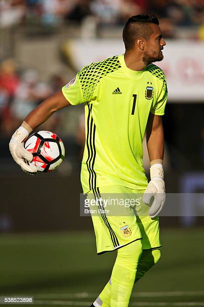 Sergio Romero goalkeeper of Argentina tosses the ball back into play during a group D match between Argentina and Chile at Levi's Stadium as part of...