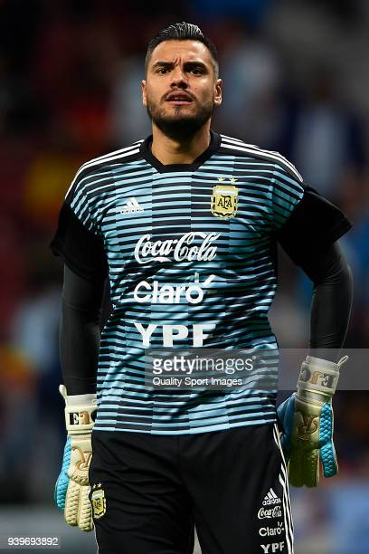 Sergio Romero goalkeeper of Argentina warms up prior to the International Friendly match between Spain and Argentina at Wanda Metropolitano Stadium...