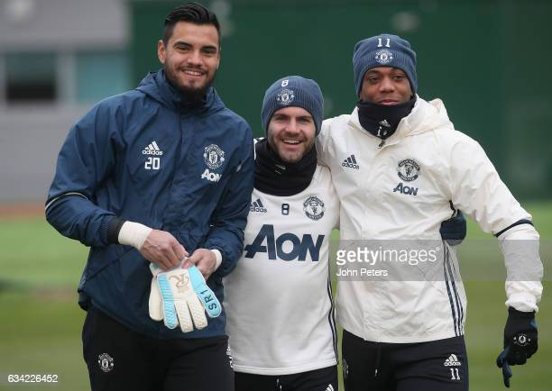 Sergio Romero Juan Mata and Anthony Martial of Manchester United in action during a first team training session at Aon Training Complex on February 8...
