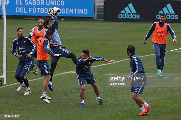 Sergio Romero of Argentina catches the ball in the air during a training session at Alberto Gallardo Stadium on October 04 2016 in Lima Peru