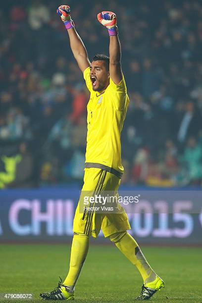 Sergio Romero of Argentina celebrates the opening goal of his team scored by Marcos Rojo of Argentina during the 2015 Copa America Chile Semi Final...