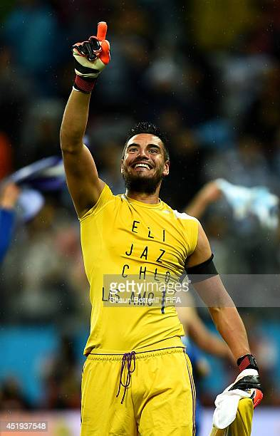 Sergio Romero of Argentina celebrates the win after the 2014 FIFA World Cup Brazil Semi Final match between Netherlands and Argentina at Arena de Sao...