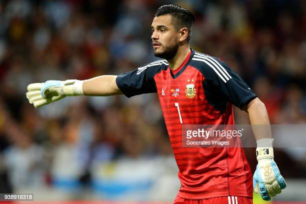 Sergio Romero of Argentina during the International Friendly match between Spain v Argentina at the Estadio Wanda Metropolitano on March 27 2018 in...