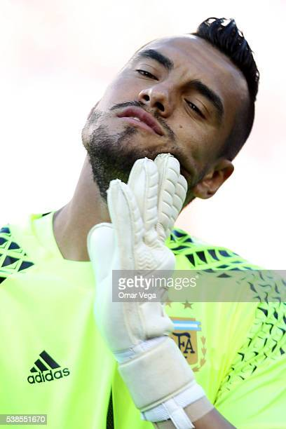 Sergio Romero of Argentina during the national anthem prior to a group D match between Argentina and Chile at Levi's Stadium as part of Copa America...