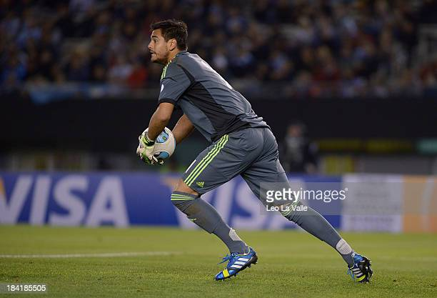 Sergio Romero of Argentina in action during a match between Argentina and Peru as part of the 17th round of the South American Qualifiers at Antonio...