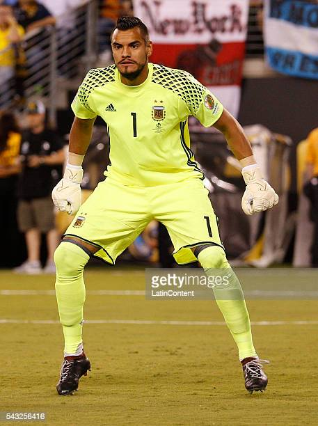 Sergio Romero of Argentina in action during the championship match between Argentina and Chile at MetLife Stadium as part of Copa America Centenario...