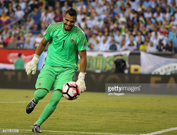 Sergio Romero of Argentina keeps his eyes on the ball as it is shot wide of the net in the second half during the 2016 Copa America Centenario...