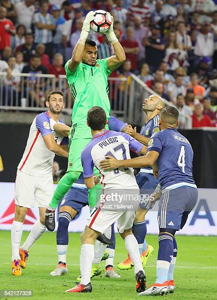 Sergio Romero of Argentina leaps for the ball in the second half against the United States during a 2016 Copa America Centenario Semifinal match at...