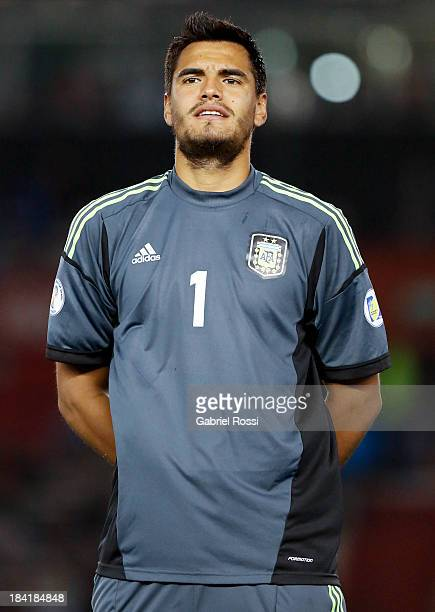 Sergio Romero of Argentina looks on before a match between Argentina and Peru as part of the 17th round of the South American Qualifiers for the...