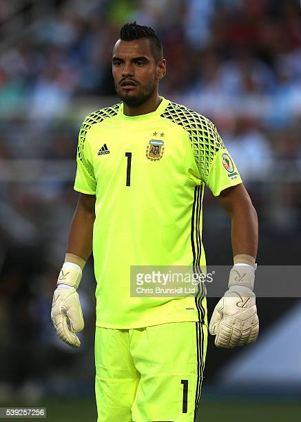 Sergio Romero of Argentina looks on during the Copa America Centenario Group D match between Argentina and Chile at Levi's Stadium on June 6 2016 in...