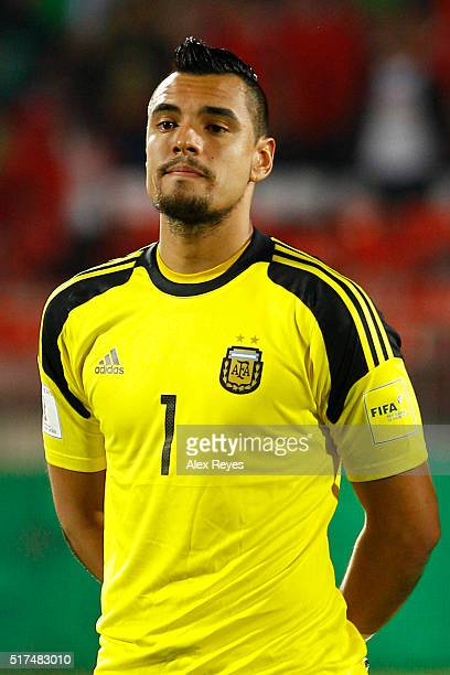 Sergio Romero of Argentina looks on during the national anthem prior a match between Chile and Argentina as part of FIFA 2018 World Cup Qualifiers at...