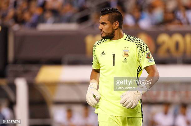 Sergio Romero of Argentina looks on in the first half during the championship match between Argentina and Chile at MetLife Stadium as part of Copa...